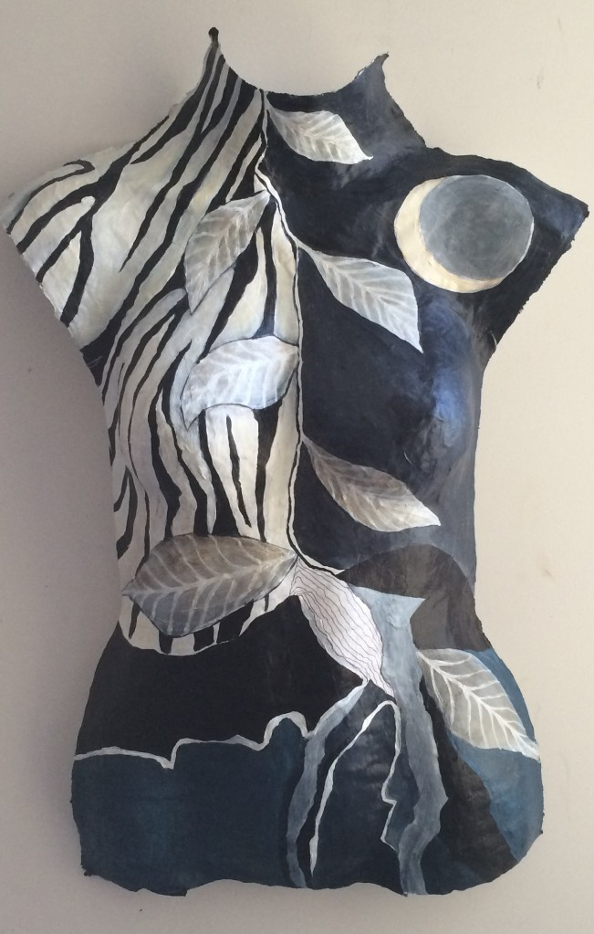 'Okavango Moon' 1 acrylic on handmade paper mach bust - sold
